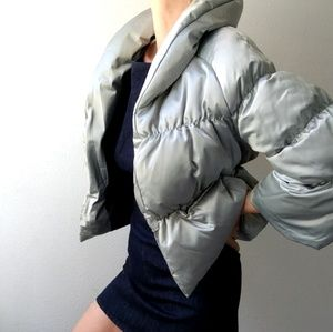 Nwot Sisley italy silver sage sporty lux puffer 4